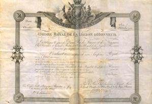 Pierre-Louis Olivier, brevet de chevalier sur parchemin, 30 avril 1818 (LH 3018)