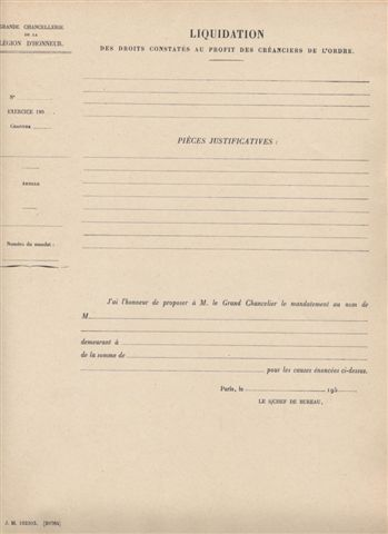 Formulaire de liquidation des droits constatés au profit des créanciers de l'Ordre (années 1950)