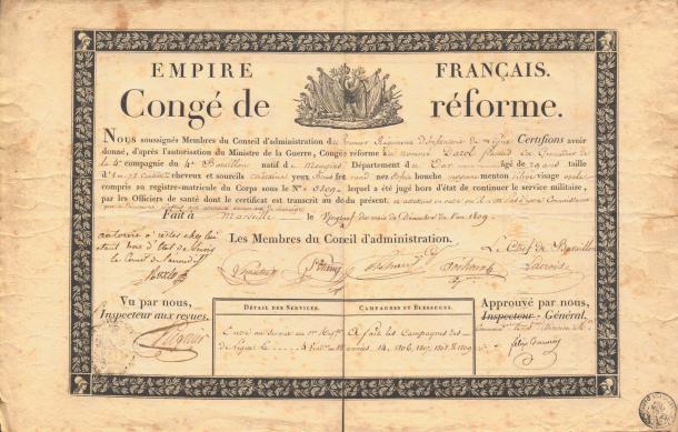 Congé de réforme de François Darol (29 décembre 1809)