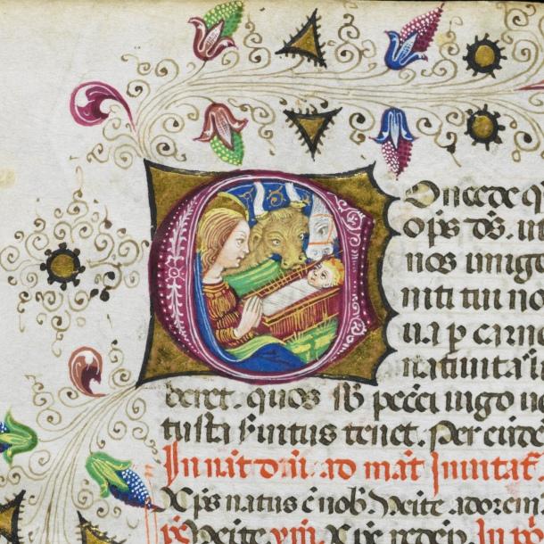 Christmas scene in a 15th century manuscript (detail)