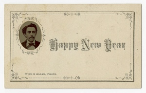 [Happy New Year card with tintype portrait of Ulpiano F. del Valle]